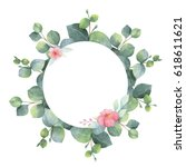 watercolor hand painted round... | Shutterstock . vector #618611621