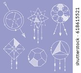 set of decorative arrows and... | Shutterstock .eps vector #618615521