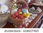 easter composition  basket with ... | Shutterstock . vector #618617465