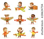 small children in pilot... | Shutterstock .eps vector #618624734