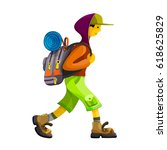 young man hiker with rucksack... | Shutterstock .eps vector #618625829