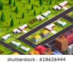 cartoon low poly city suburbs... | Shutterstock . vector #618626444