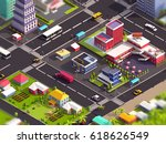 cartoon low poly city post 3d... | Shutterstock . vector #618626549