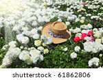 elegant straw hat on a sunny... | Shutterstock . vector #61862806