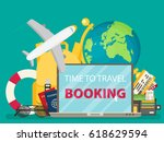 time to travel. set of travel... | Shutterstock .eps vector #618629594