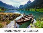 lake loen in west norway. | Shutterstock . vector #618630365