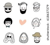 set of cute avatar or profile... | Shutterstock .eps vector #618637379