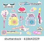 stickers on make up theme and... | Shutterstock . vector #618642029