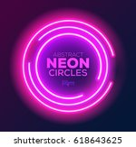abstract neon circles banner.... | Shutterstock .eps vector #618643625