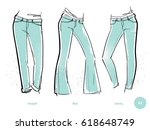 women's jeans fits. denim wear. ... | Shutterstock .eps vector #618648749