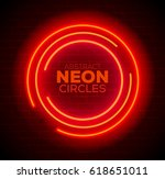 abstract red neon circles... | Shutterstock .eps vector #618651011