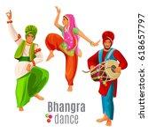 bhangra dance concept men and... | Shutterstock .eps vector #618657797