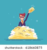 positive businessman found the... | Shutterstock .eps vector #618660875