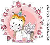 Cute Cartoon Unicorn With...