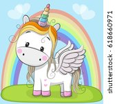 cute cartoon unicorn and... | Shutterstock .eps vector #618660971