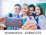 group of teenagers making fun...   Shutterstock . vector #618661151