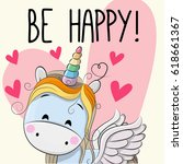 be happy greeting card unicorn... | Shutterstock .eps vector #618661367