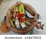 mackerel fish   chili  garlic...   Shutterstock . vector #618670031