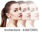 disappearing faces of sensual... | Shutterstock . vector #618673001