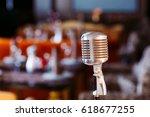 retro karaoke microphone on... | Shutterstock . vector #618677255