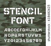 stencil alphabet font. type... | Shutterstock .eps vector #618682625