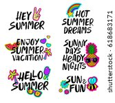 collection of summer... | Shutterstock .eps vector #618683171