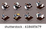 isometric people  3d young... | Shutterstock .eps vector #618685679