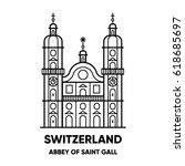 switzerland  abbey of saint... | Shutterstock .eps vector #618685697