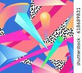 seamless primitive patterns of... | Shutterstock .eps vector #618689831