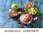 smoothie bowl  pink and green... | Shutterstock . vector #618694859