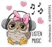 Cute Cartoon Owl Girl With...