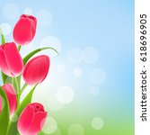 postcard with tulips | Shutterstock . vector #618696905