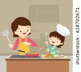 happy family with mom and... | Shutterstock .eps vector #618702671