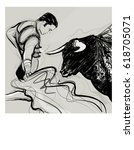 bull charging a bullfighter  ... | Shutterstock .eps vector #618705071