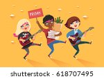 crowd of multicultural girls... | Shutterstock .eps vector #618707495