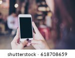 mockup image of a woman holding ... | Shutterstock . vector #618708659
