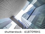 looking up at business buildings | Shutterstock . vector #618709841