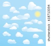 set of clouds on a sunny sky | Shutterstock .eps vector #618713354