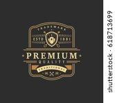 luxury logo template vector... | Shutterstock .eps vector #618713699