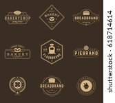 bakery shop logos templates set.... | Shutterstock .eps vector #618714614