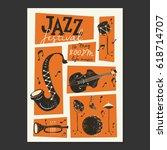 vector jazz festival poster... | Shutterstock .eps vector #618714707
