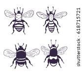 vector bees set illustration....