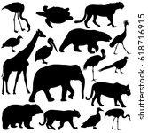 silhouette elephant tiger bear... | Shutterstock .eps vector #618716915