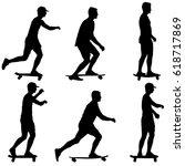 set ilhouettes a skateboarder... | Shutterstock .eps vector #618717869