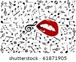 illustration of red lips singing   Shutterstock . vector #61871905