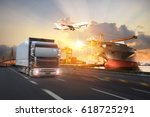 truck transport container on... | Shutterstock . vector #618725291