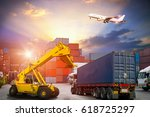 logistics and transportation of ... | Shutterstock . vector #618725297