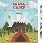 summer camp. summer landscape... | Shutterstock .eps vector #618725687