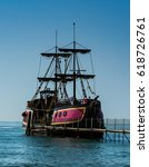 Old Pirate Ship Moored And...