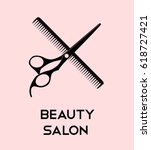 haircut icons with scissors for ... | Shutterstock .eps vector #618727421